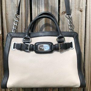 Michael Kors Hamilton black & tan leather handbag
